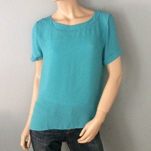 Teal Ann Taylor Loft Top blouse shirt small Sm S